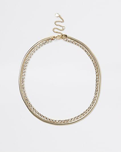 Gold diamante multirow necklace