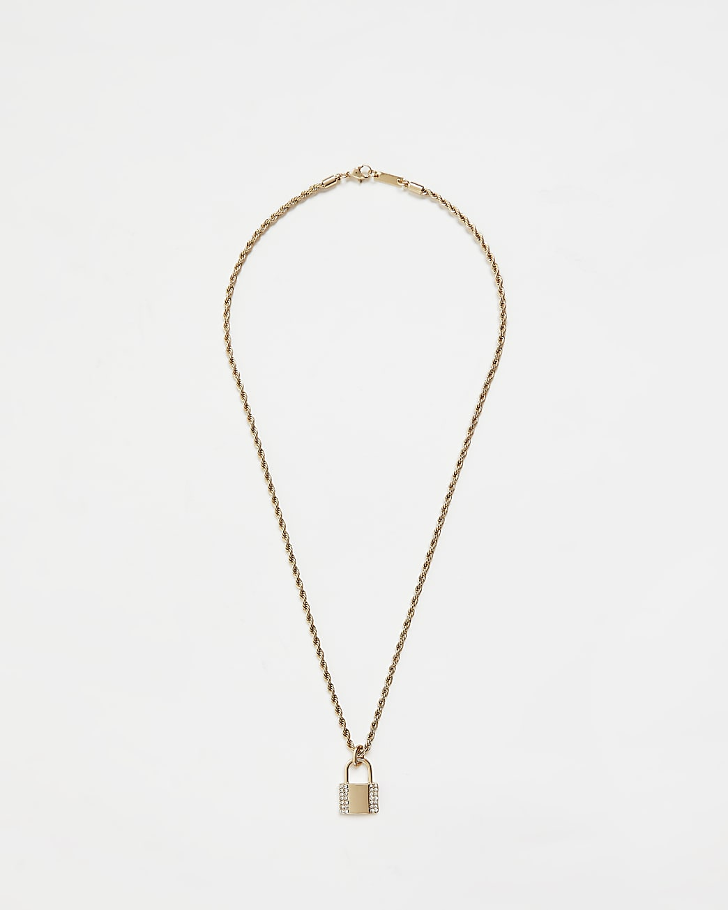 Gold diamante padlock pendant necklace