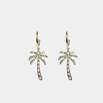 Gold diamante palm tree drop earrings