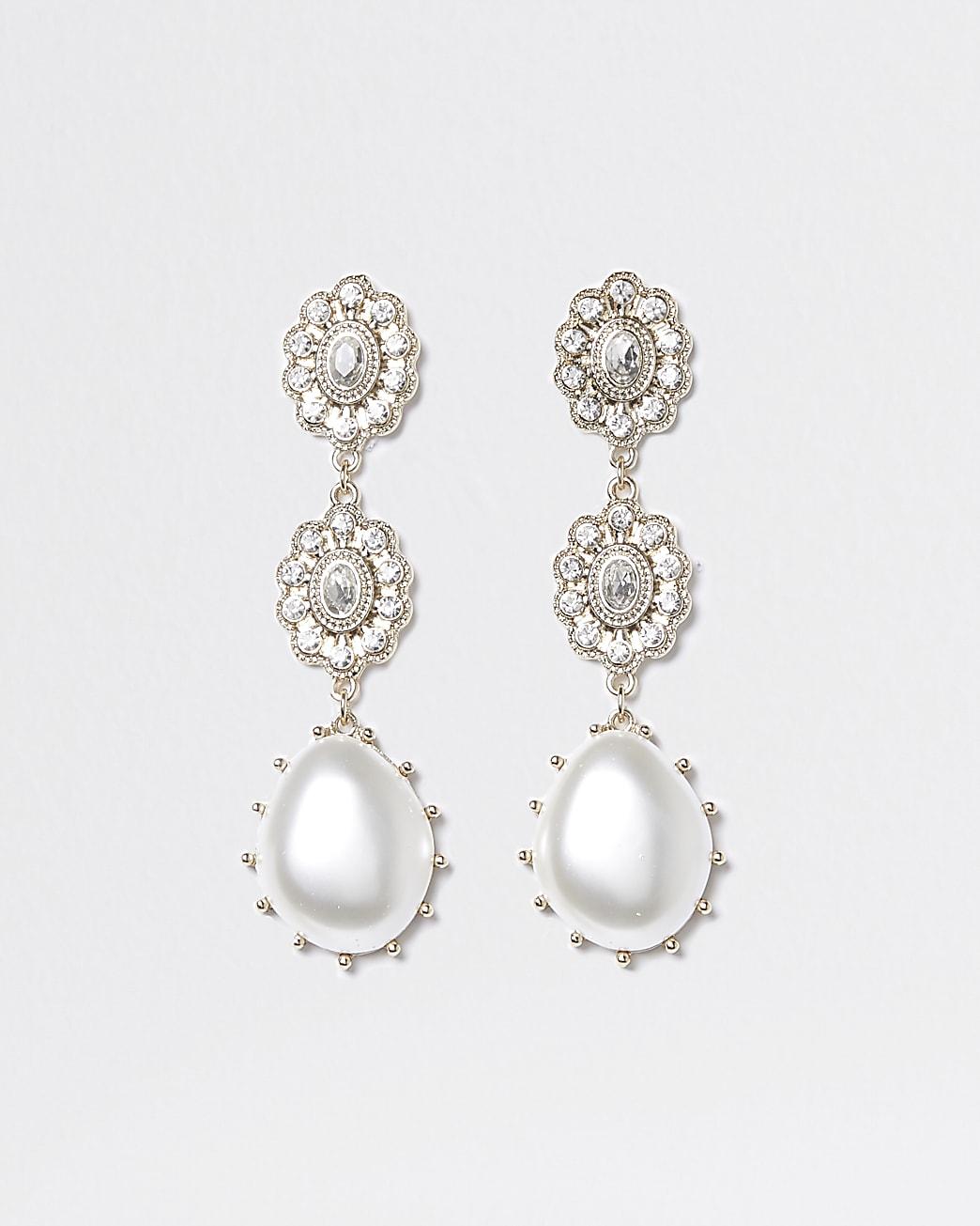 Gold diamante pearl drop earrings