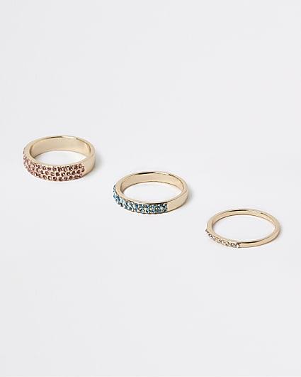 Gold diamante rings multipack