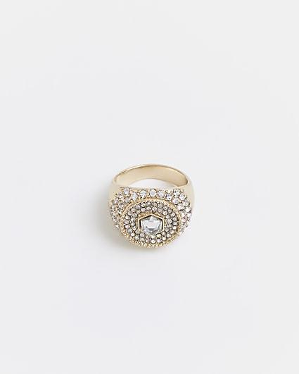Gold diamante signet ring