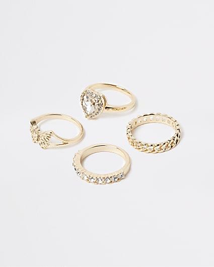 Gold diamante stacking rings multipack
