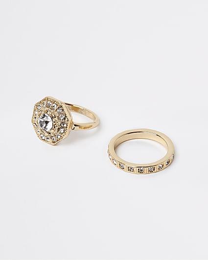 Gold diamante stacking rings