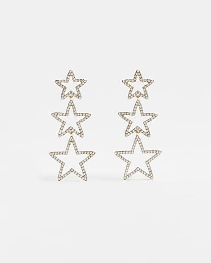 Gold diamante star drop earrings