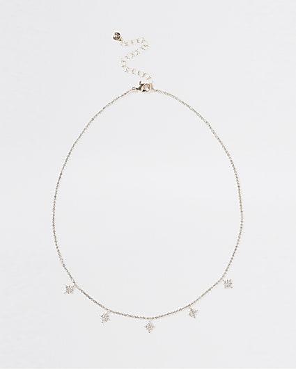 Gold diamante star pendant necklace