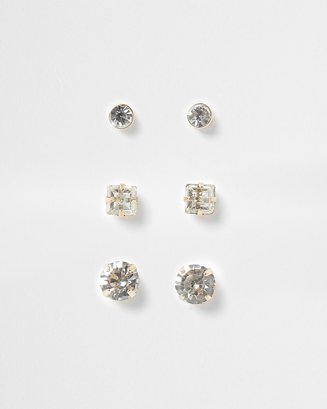 Gold diamante stud earrings