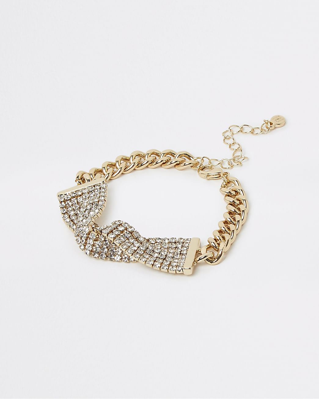 Gold diamante twist chain link bracelet