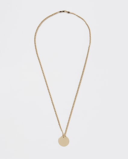 Gold disk pendant necklace