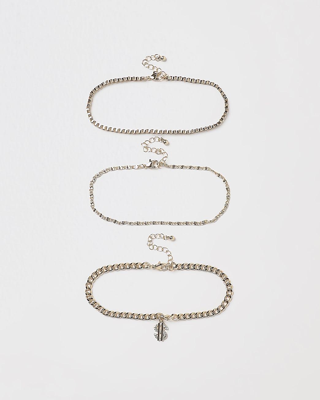 Gold dollar pendant bracelets multipack