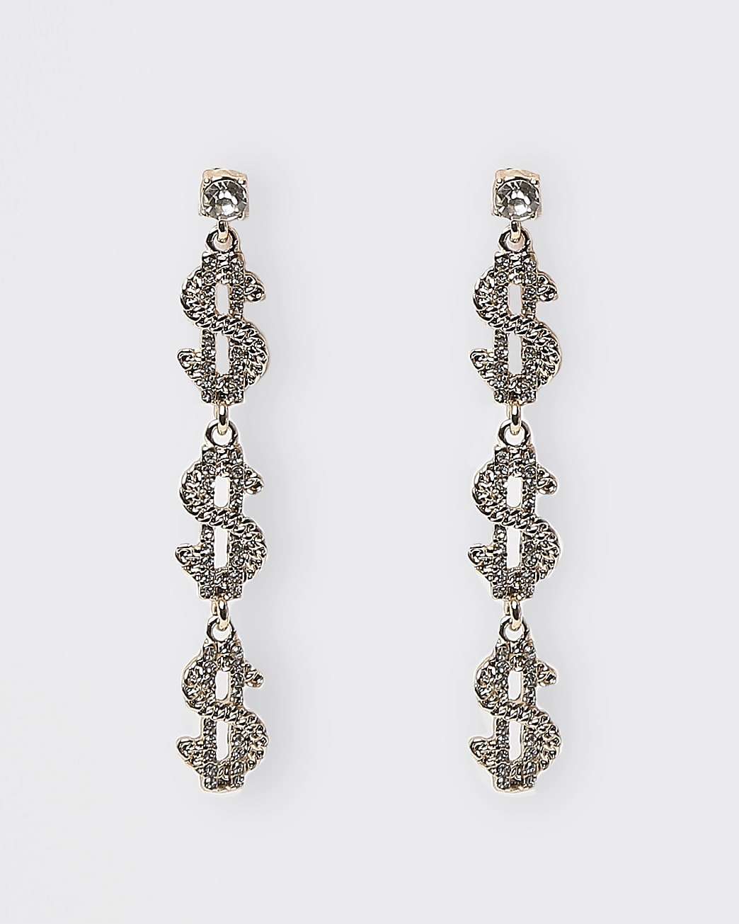 Gold dollar sign pendant drop earrings