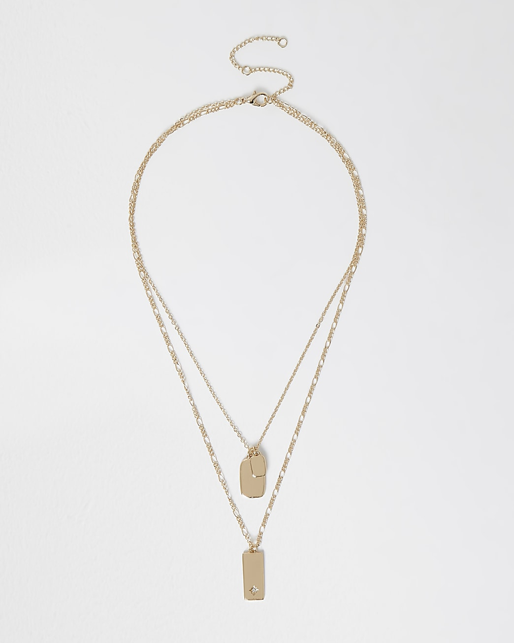 Gold double row dog tag necklace