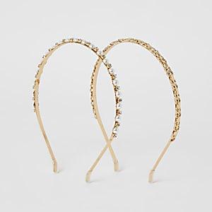 Goudkleurige verfraaide hoofdband set van 2