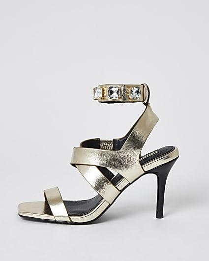 Gold embellished heeled sandals