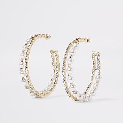 Gold embellished layered hoop earrings