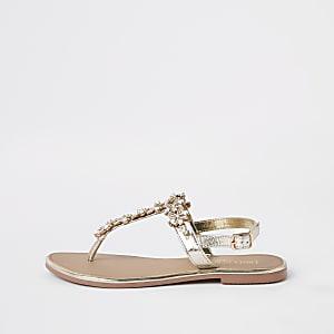 Gouden versierde leren sandalen
