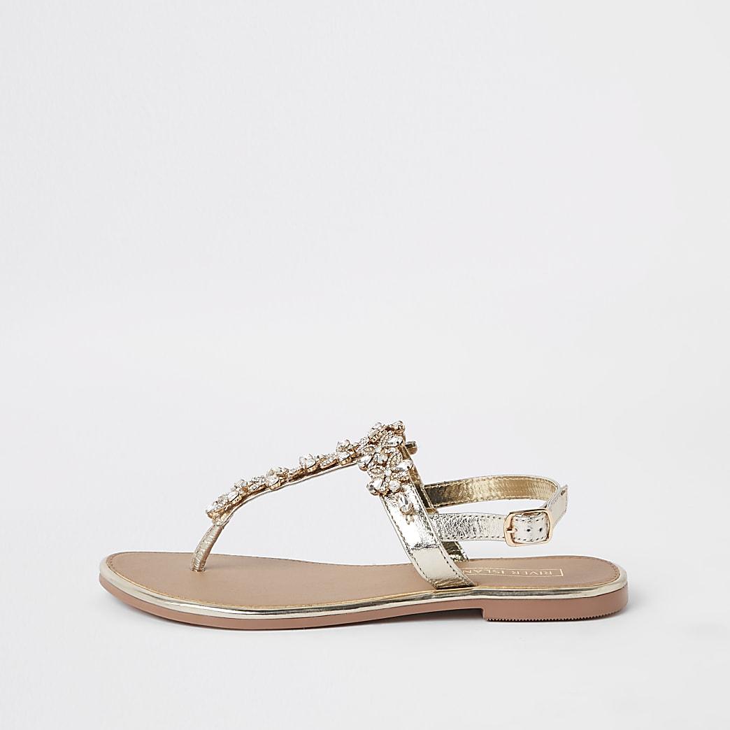 Sandales en cuir dorées ornées