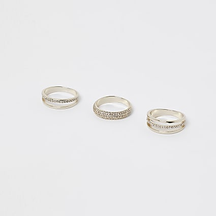 Gold embellished multiband ring 3 pack