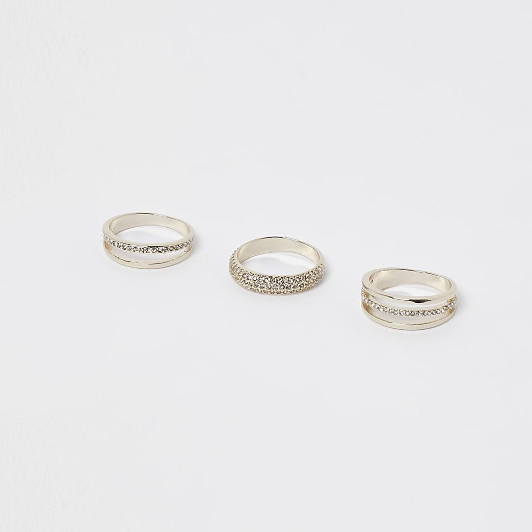 Gold embellished multiband ring 3 pack