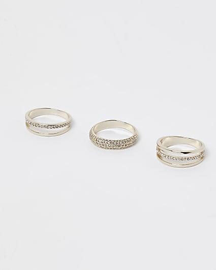 Gold embellished multiband ring multipack