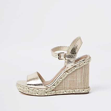 Gold Embellished Studded Wedges