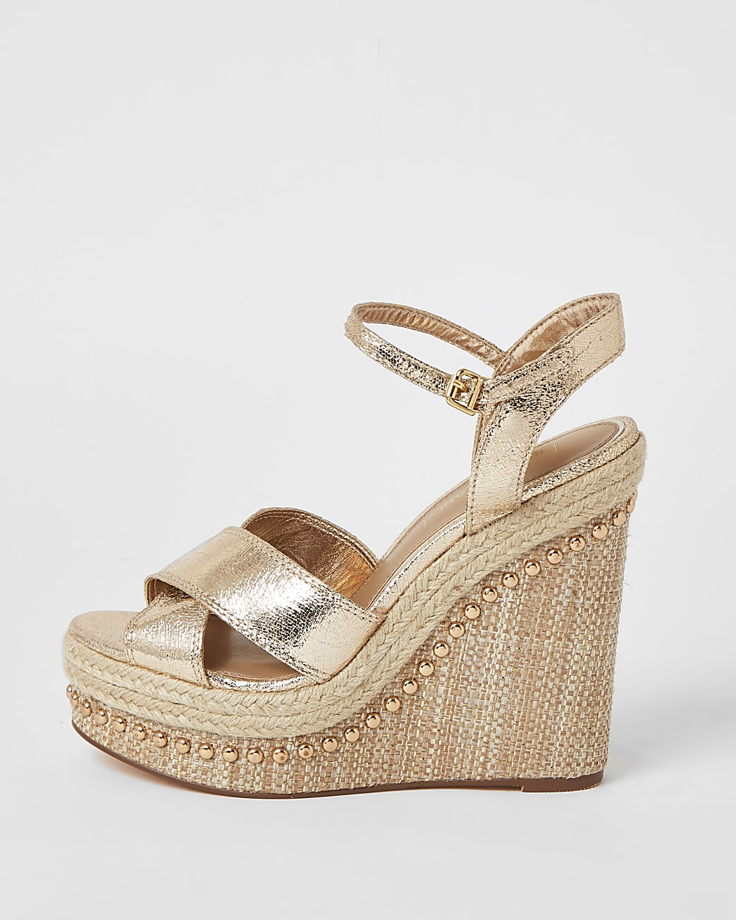 Gold embellished two part wedge sandals