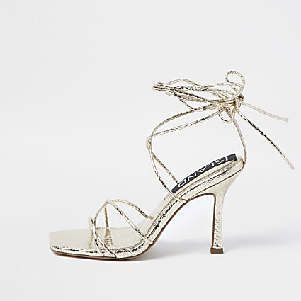 Gold embossed square toe tie up sandal