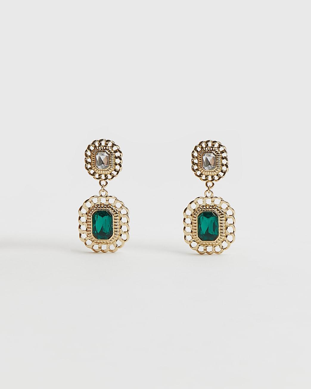 Gold emerald stone drop earrings