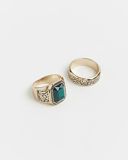 Gold emerald stone engraved rings 2 pack