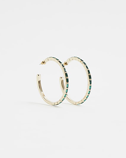 Gold emerald stone hoop earrings