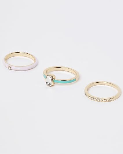 Gold enameled diamante rings multipack