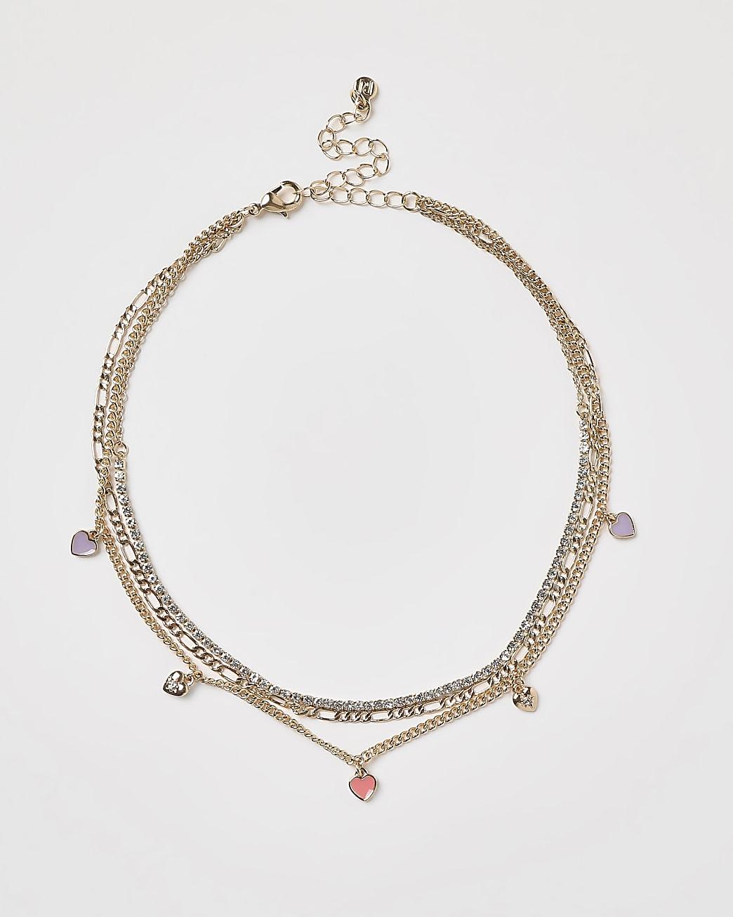 Gold enameled heart charms choker