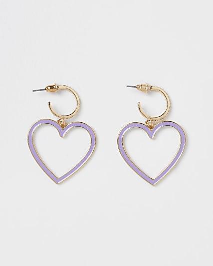 Gold enameled heart drop earrings