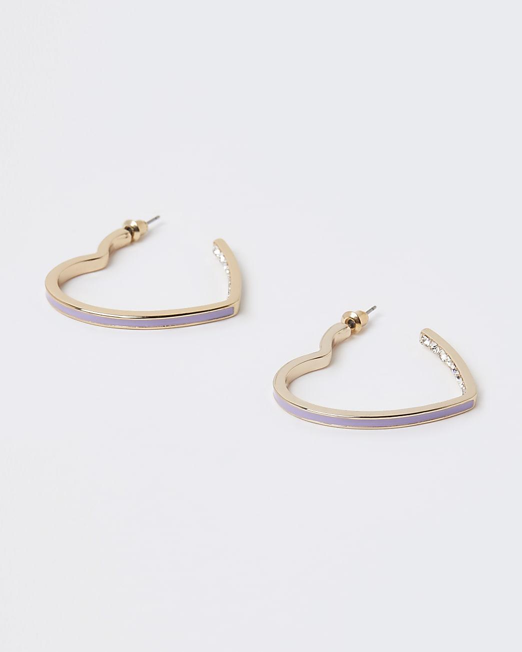 Gold enameled heart hoop earrings