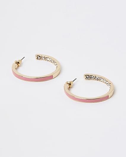 Gold enameled hoop earrings