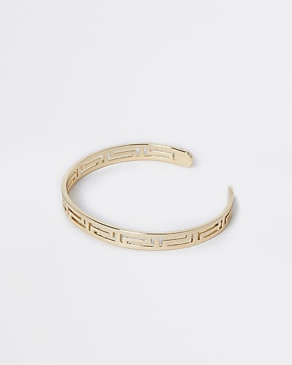 Gold engraved cuff bracelet
