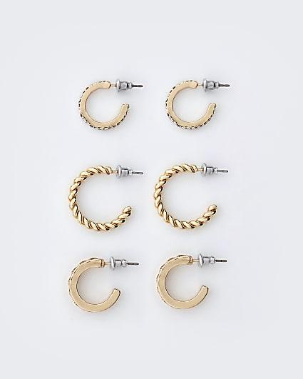 Gold engraved hoop earrings multipack