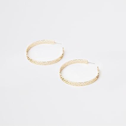 Gold engraved hoop earrings
