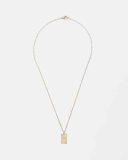 Gold engraved tag pendant necklace
