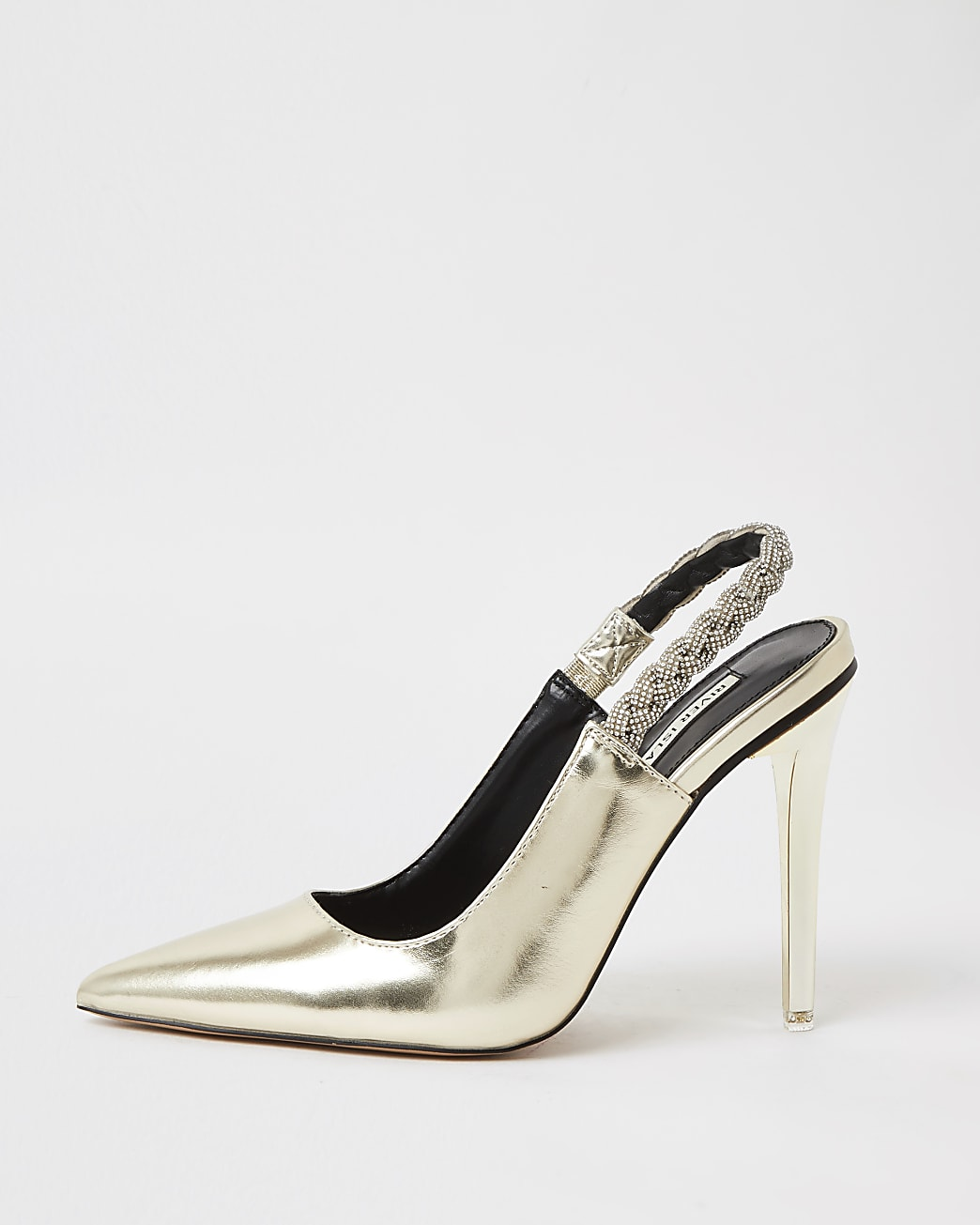 Gold faux leather sling back court shoes
