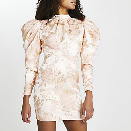 Gold floral print puff sleeve open back dress