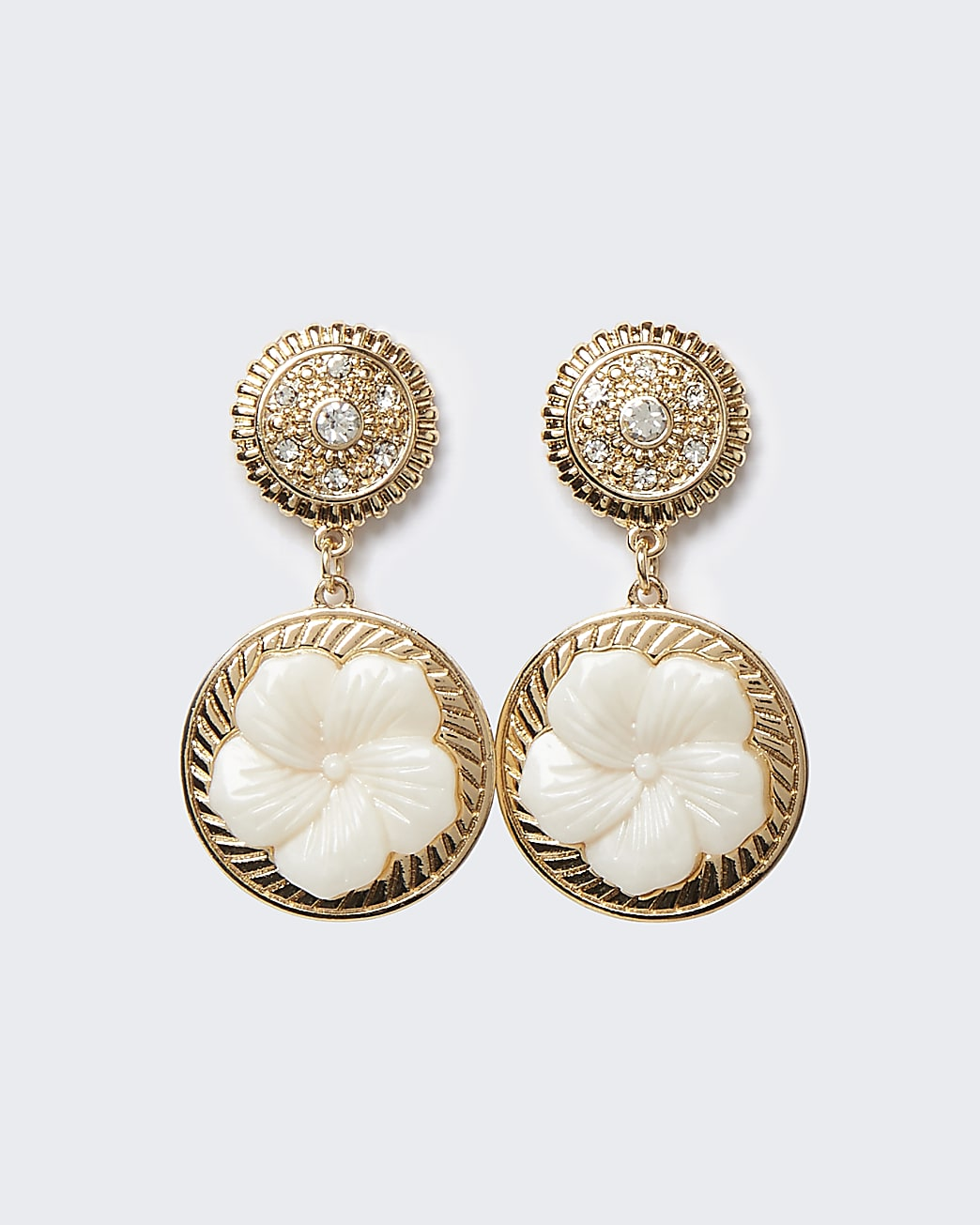 Gold flower and diamante drop earrings