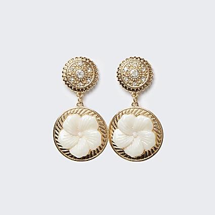 Gold flower diamante drop earrings