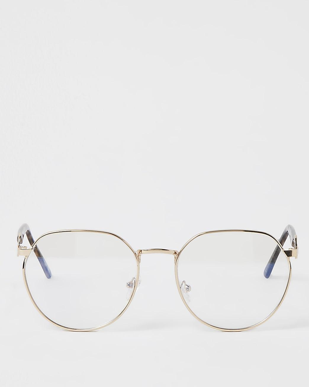Gold frame blue light lens glasses