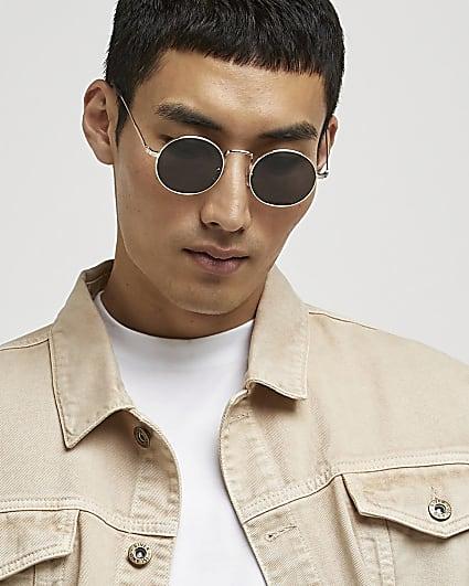 Gold frame round sunglasses