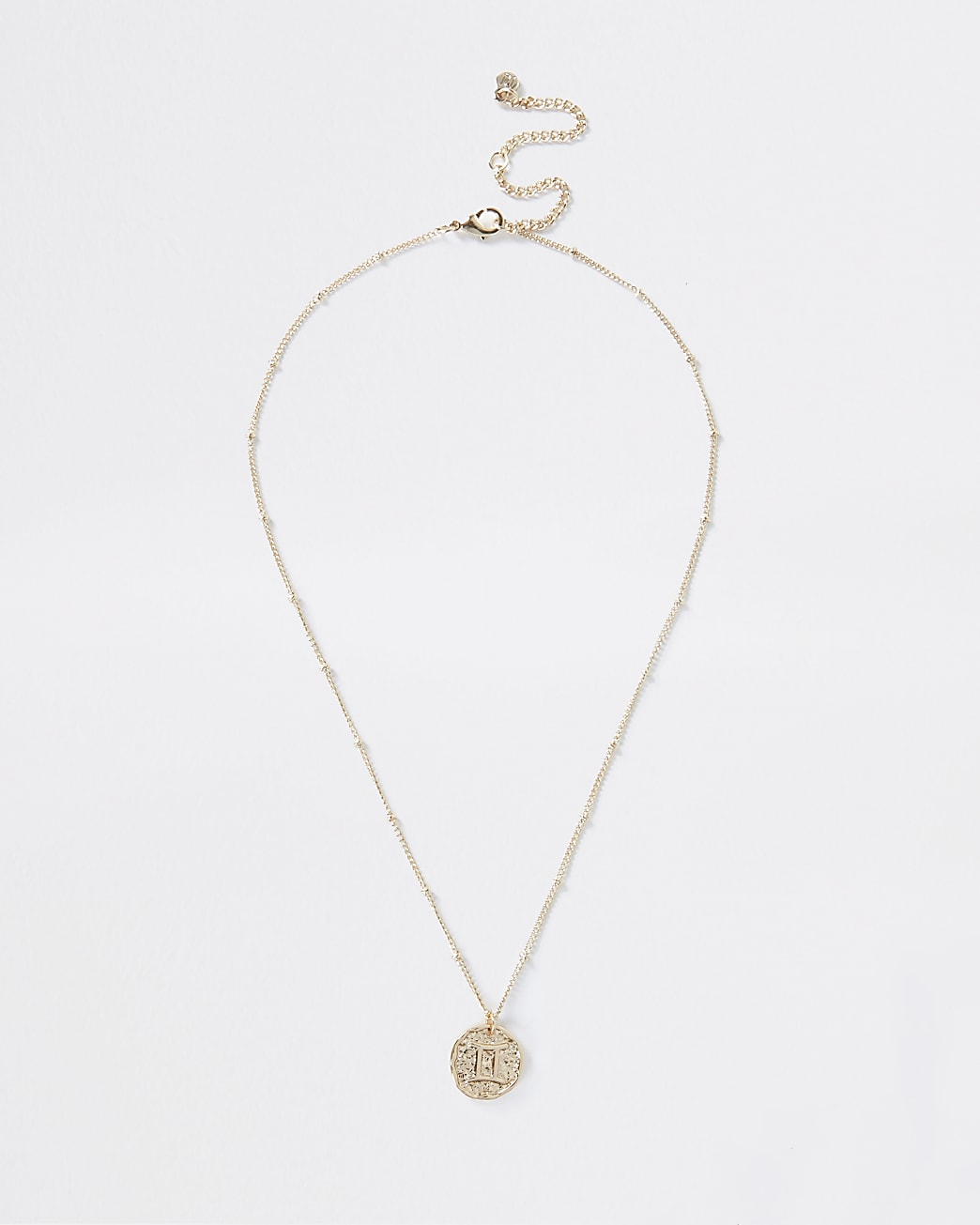 Gold Gemini horoscope coin necklace