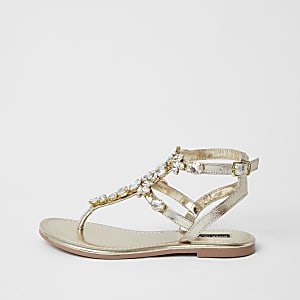 Gold gladiator embellished sandal