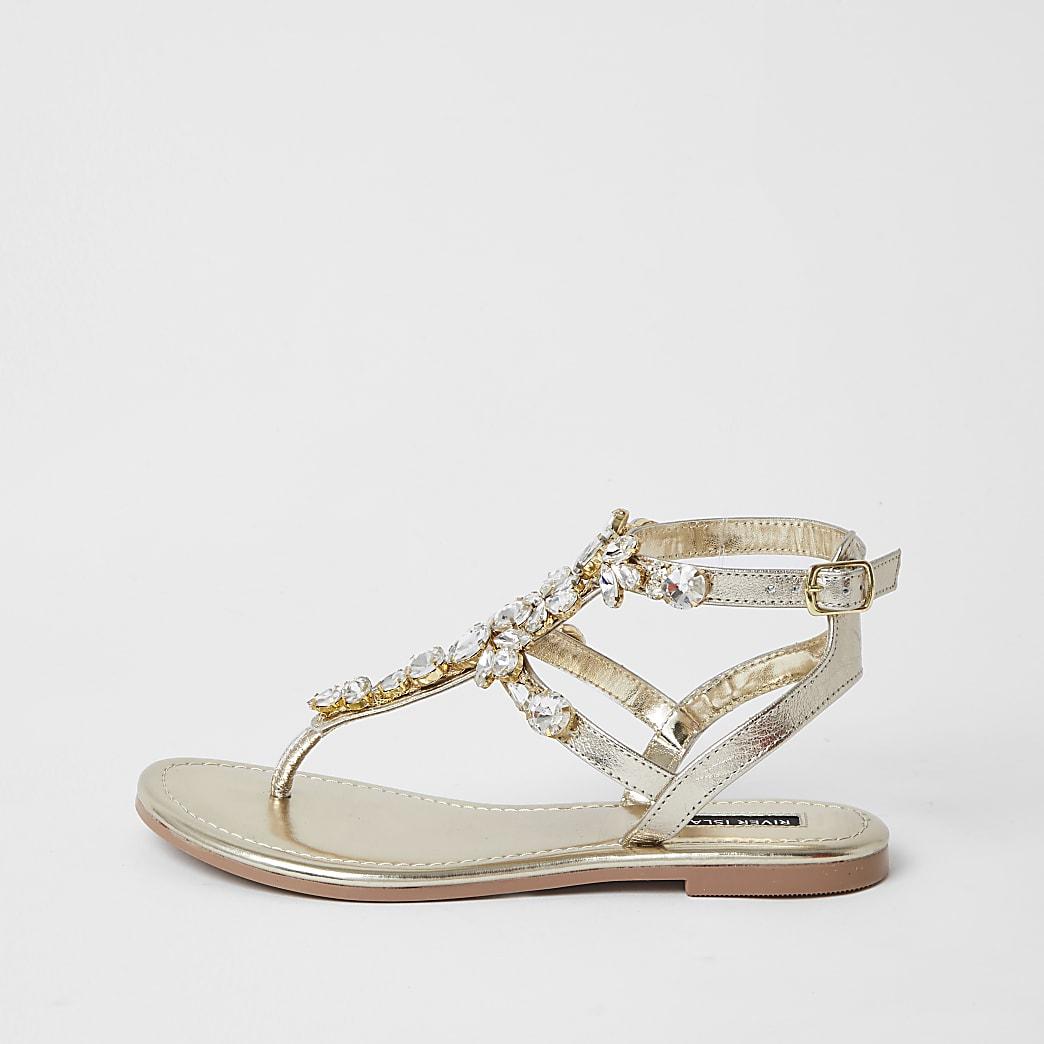 Gold gladiator embellished sandal