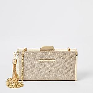 Goudkleurige vierkante clutch met glitters en druksluiting