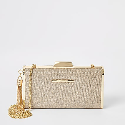 Gold glitter cliptop box clutch bag